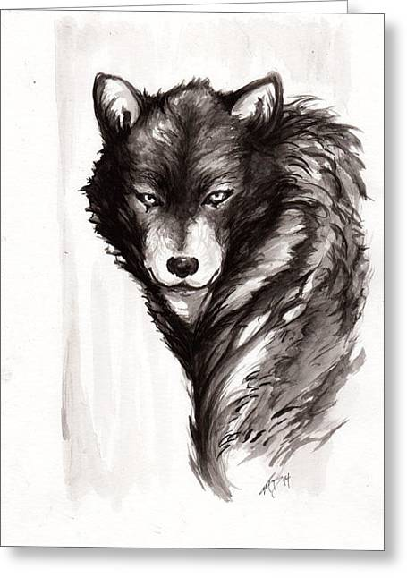 Inkwash Greeting Cards - Lone Wolf Greeting Card by Miguel Karlo Dominado