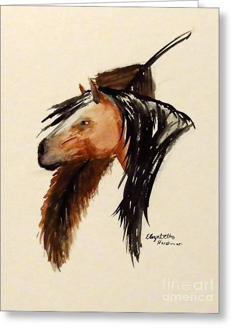 Lone Horse Paintings Greeting Cards - Lone Worrier Greeting Card by Elizabeth Harshman
