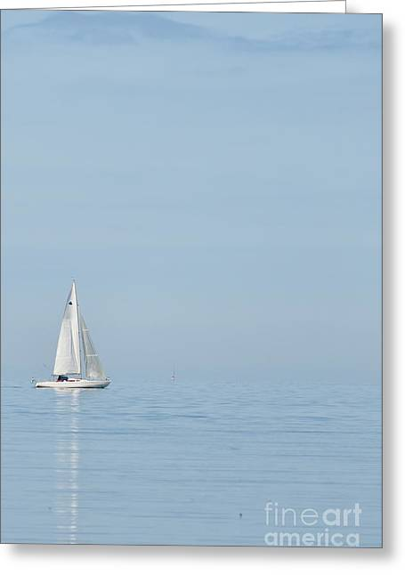 One Sailboat Greeting Cards - Lone Yacht Greeting Card by Antony McAulay