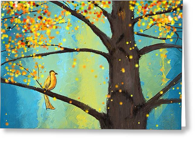 Blues And Yellows Greeting Cards - Lone Yellow Bird Greeting Card by Lourry Legarde