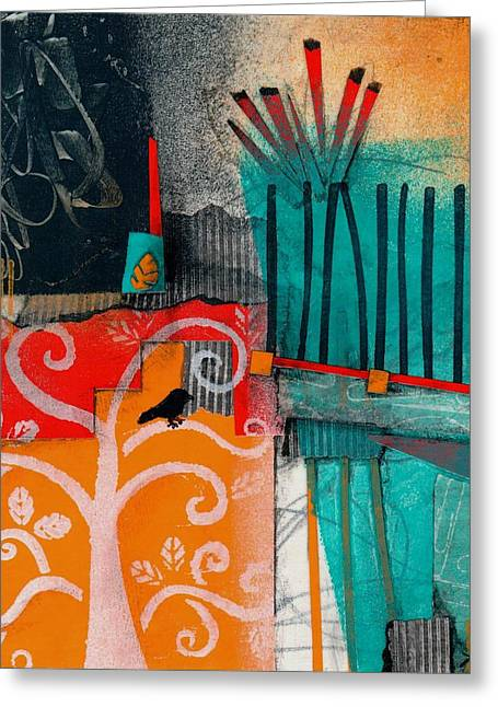 Abstract Collage Greeting Cards - Lonecrow Spirit  Greeting Card by Laura  Lein-Svencner
