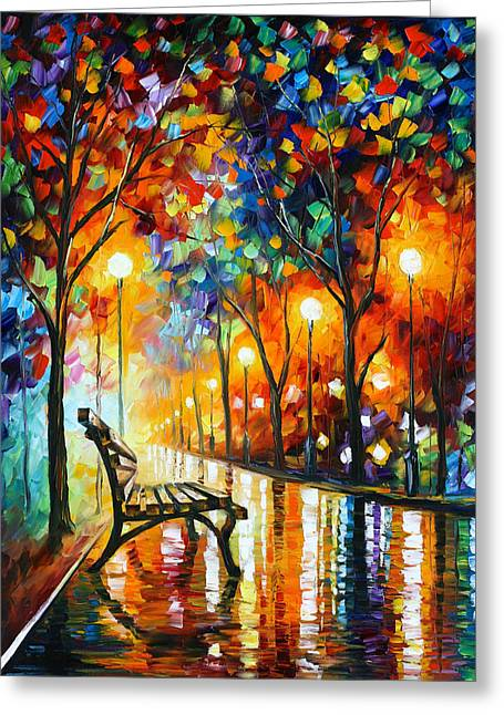 People Paintings Greeting Cards - Loneliness Of Autumn Greeting Card by Leonid Afremov
