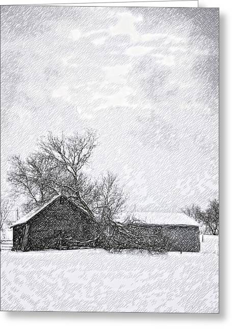 Snowstorm Digital Art Greeting Cards - Loneliness sketch Greeting Card by Steve Harrington