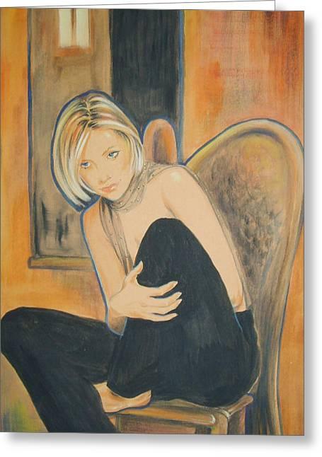 Ottilia Zakany Greeting Cards - Lonely Angel Greeting Card by Ottilia Zakany