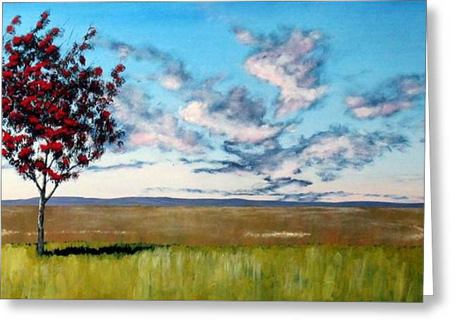 Sofa Size Greeting Cards - Lonely Autumn Tree Greeting Card by Michael Dillon