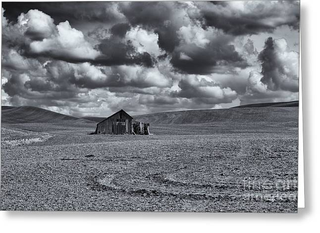 Scenic Barn Greeting Cards - Lonely Barn on the Prairie Greeting Card by Mike Dawson