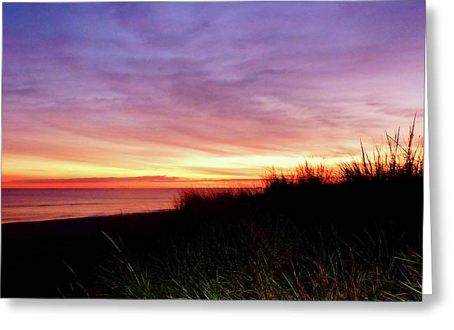 Lonely Beach At Sunrise Norfolk Va Greeting Card by Susan Savad