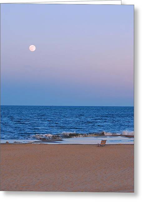 Moon Beach Greeting Cards - Lonely Beach Greeting Card by Francie Davis