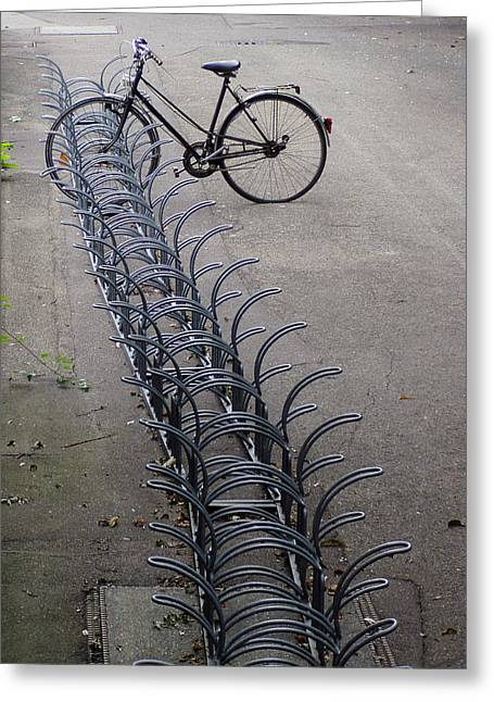 Rad Greeting Cards - Lonely bike at bicycle rack Greeting Card by Matthias Hauser