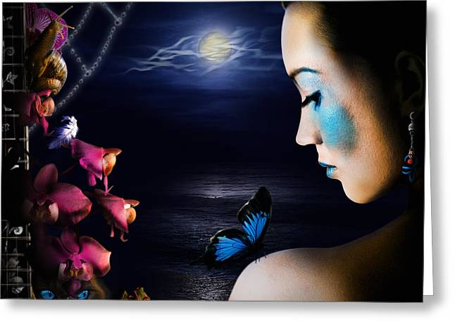 Sea Moon Full Moon Greeting Cards - Lonely Blue Princess and the villains Greeting Card by Alessandro Della Pietra