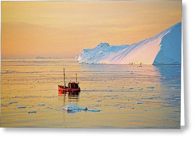 Boat Cruise Greeting Cards - Lonely Boat - Greenland Greeting Card by Juergen Weiss