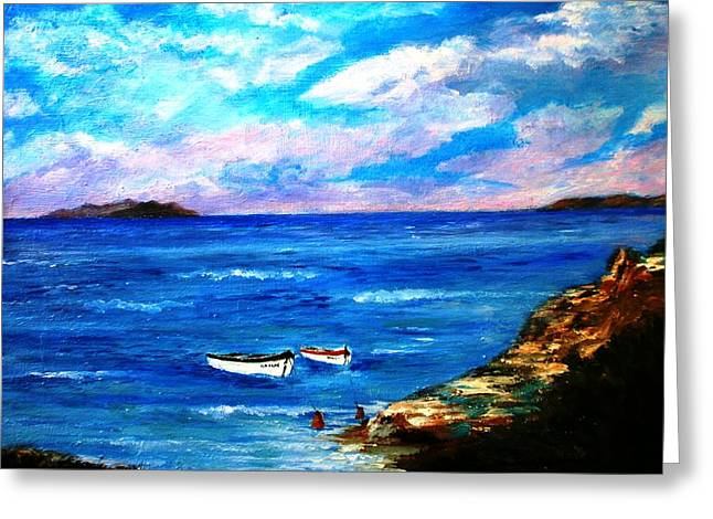 Landscape Framed Prints Pastels Greeting Cards - Lonely boats Greeting Card by Constantinos Charalampopoulos