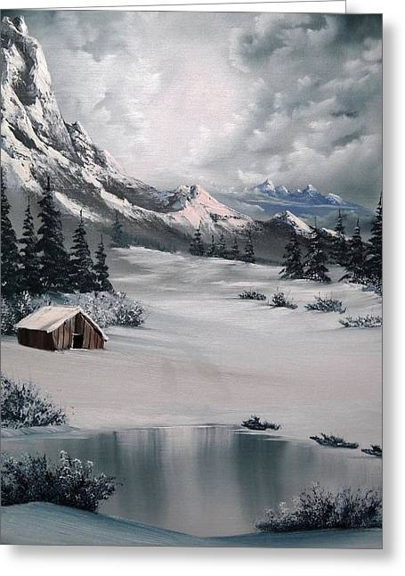 Bob Ross Paintings Greeting Cards - Lonely Cabin Greeting Card by John Koehler