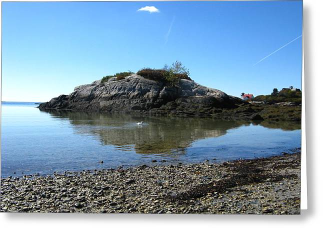 Maine Shore Greeting Cards - Lonely Cloud and Hendricks Head Light Greeting Card by Bill Tomsa