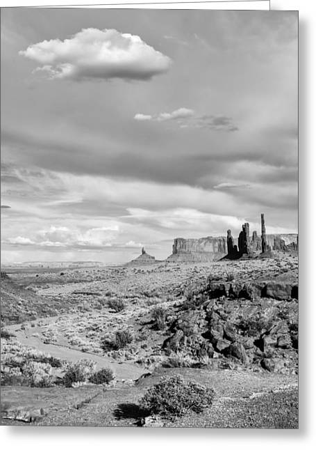 Dineh Greeting Cards - Lonely Cloud and Totem Pole - Monument Valley Tribal Park Arizona Greeting Card by Silvio Ligutti