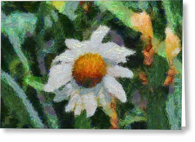 Daisies Mixed Media Greeting Cards - Lonely Daisy Greeting Card by Dan Sproul