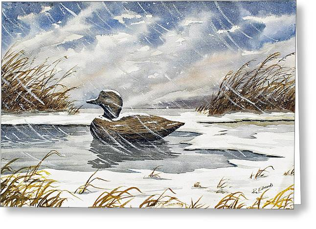 Marsh Scene Greeting Cards - Lonely Decoy in Snow Greeting Card by Raymond Edmonds