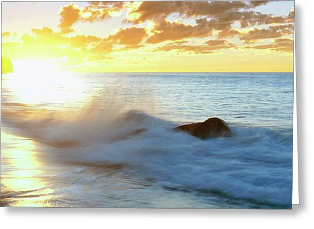 Lonely Fisherman On Beach At Sunrise Greeting Card by Panoramic Images