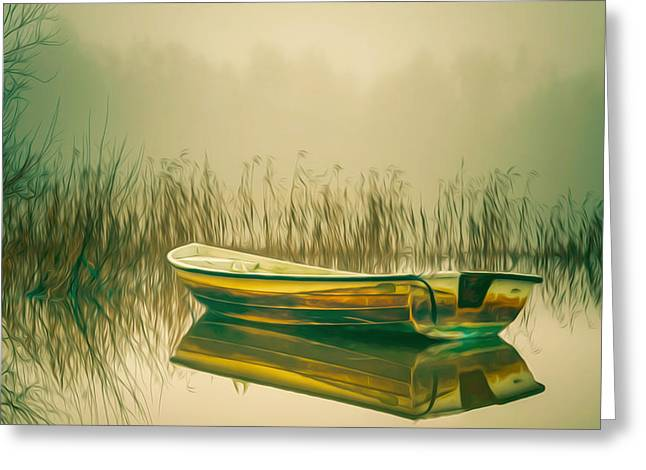 Early Sink Greeting Cards - Lonely fishing boat on the lakeside Greeting Card by Lanjee Chee