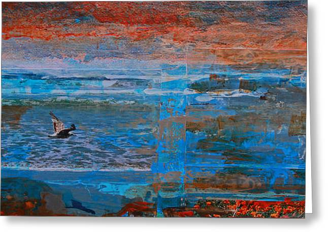 Flying Seagull Mixed Media Greeting Cards - Lonely Flyer Right Panel Of Morro Bay Panorama Greeting Card by Walter Fahmy