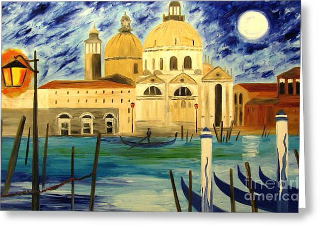 Lonely Gondolier Greeting Card by Mariana Stauffer