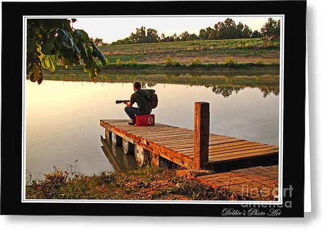 Debbie Portwood Greeting Cards - Lonely Guitarist Greeting Card by Debbie Portwood