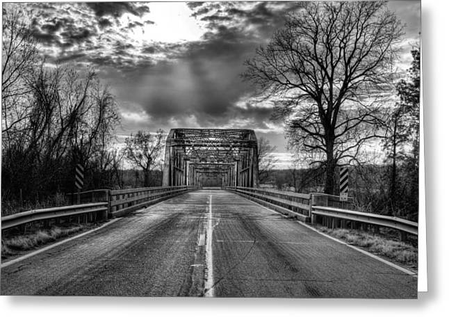 Arkansas Greeting Cards - Lonely Highways Black and White Greeting Card by JC Findley