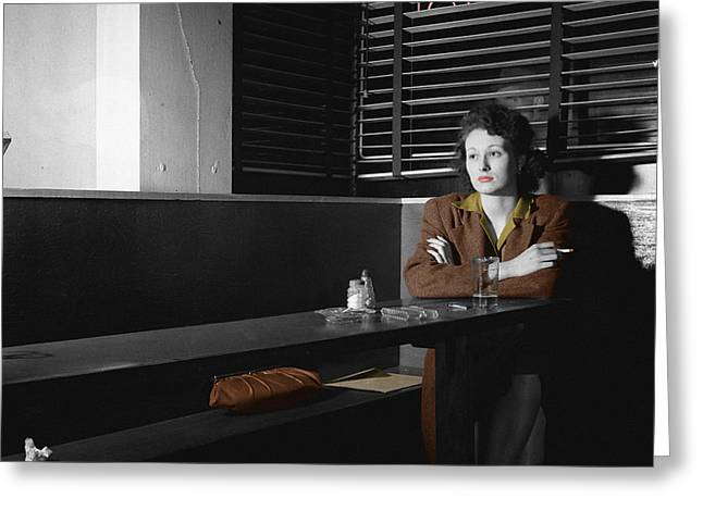 Film Noir Greeting Cards - Lonely Lady Greeting Card by Andrew Fare