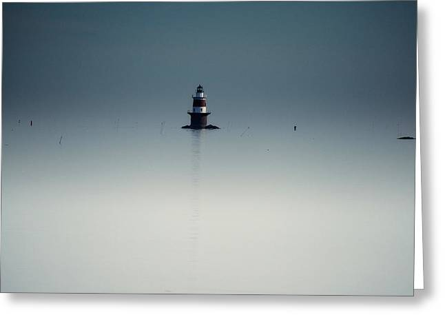 Connecticut Winter Greeting Cards - Lonely Lighthouse  Greeting Card by Karol  Livote