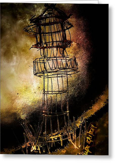 Barker Greeting Cards - Lonely Lighthouse Greeting Card by Mimulux patricia no