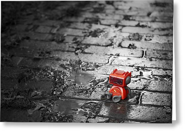 Gutter Greeting Cards - Lonely Little Robot Greeting Card by Scott Norris
