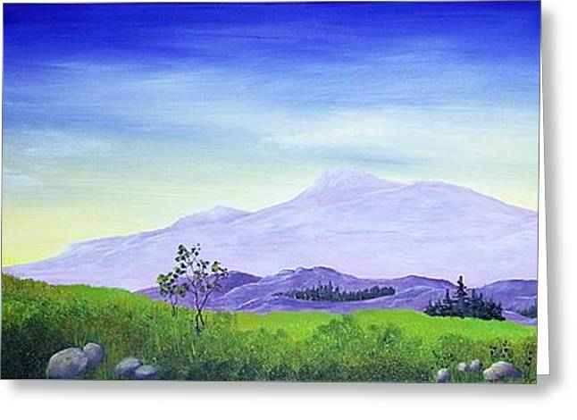 Summer Scene Drawings Greeting Cards - Lonely Mountain Greeting Card by Anastasiya Malakhova