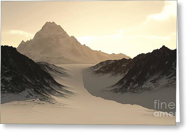 Snowy Evening Digital Art Greeting Cards - Lonely Mountain Greeting Card by Fairy Fantasies