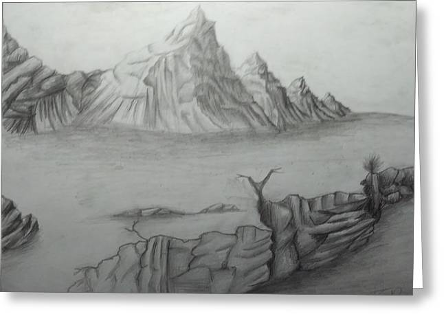 Lanscape Drawings Greeting Cards - Lonely Mountain Greeting Card by Richard DeBaca