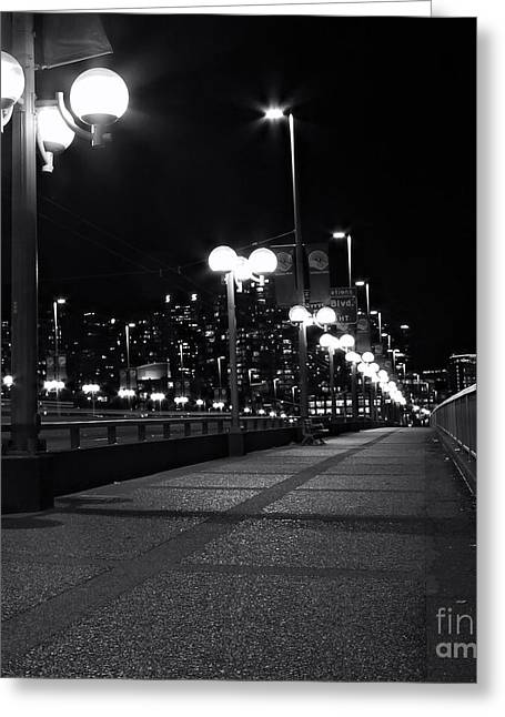 Cambie Bridge Greeting Cards - Lonely Nights Greeting Card by Val Faustino