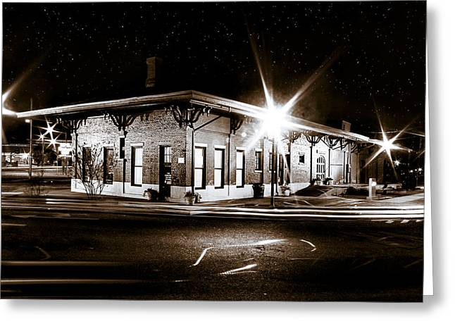 Twinkle Greeting Cards - Lonely Old Night - Montezuma Train Depot - Georgia Greeting Card by Mark Tisdale
