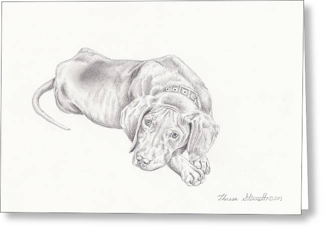 Doggy Drawings Greeting Cards - Lonely Pup Greeting Card by Theresa Stinnett