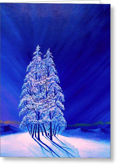 Northern Lights Greeting Cards - Lonely Purple Trees Greeting Card by Reggie Hart