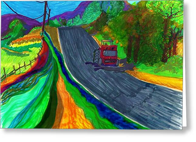 Mountain Road Drawings Greeting Cards - Lonely red Greeting Card by Jill Jacobs