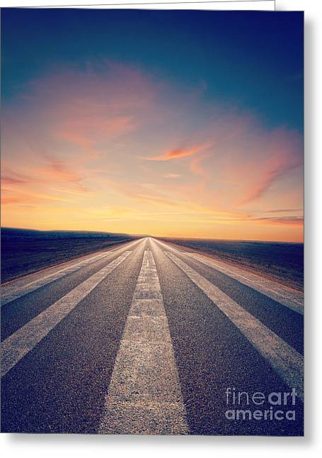 Road Greeting Cards - Lonely Road at Sunset Greeting Card by Colin and Linda McKie