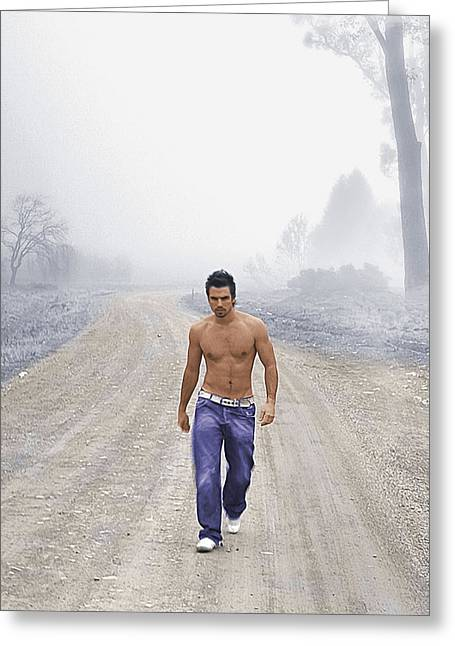 Bare Chested Greeting Cards - Lonely Road Greeting Card by Troy Caperton