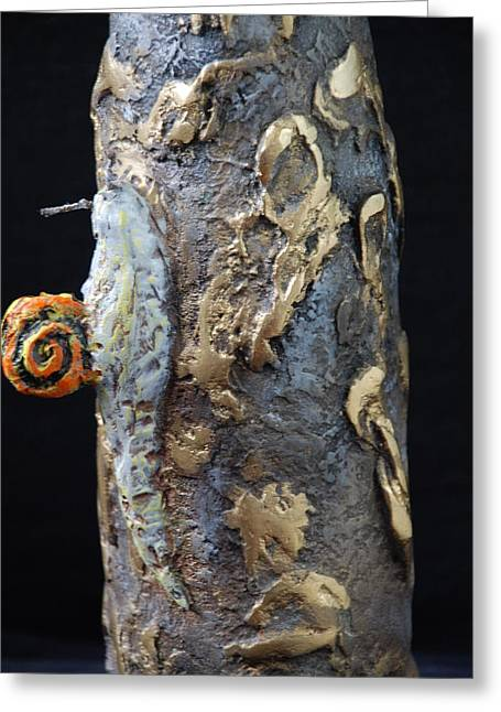 Sculpture Glass Art Greeting Cards - Lonely Snail And Gold Nugets Greeting Card by Zoltan  Kapus