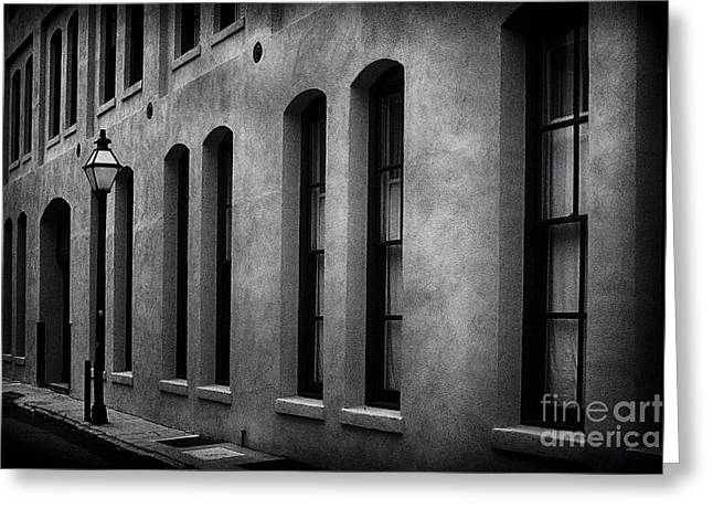Film Noir Greeting Cards - Lonely Street Lamp Greeting Card by George Oze