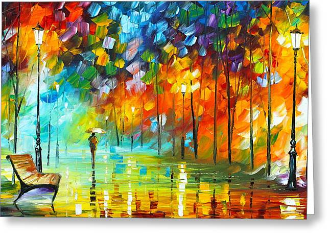 Park Benches Paintings Greeting Cards - Lonely Stroll 3 Greeting Card by Leonid Afremov