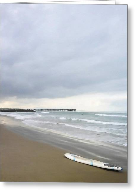 Left Alone Greeting Cards - Lonely Surfboard Greeting Card by Art Block Collections