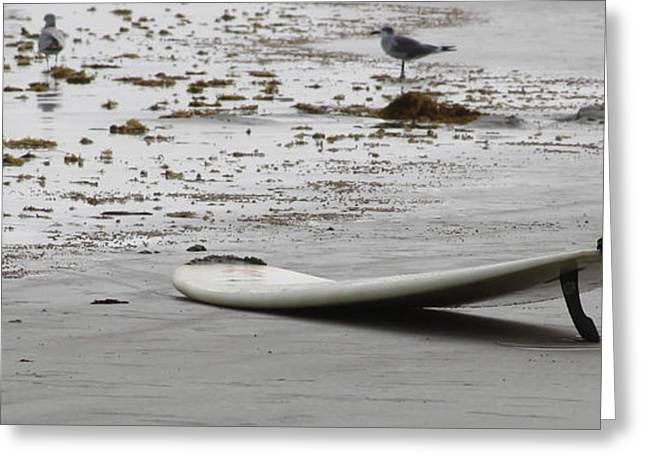 Kahuna Beach Greeting Cards - Lonely Surfboard LG Greeting Card by Chris Thomas