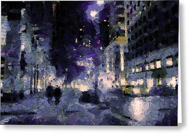 Live Art Greeting Cards - Lonely Taxi in NYC Greeting Card by Yury Malkov