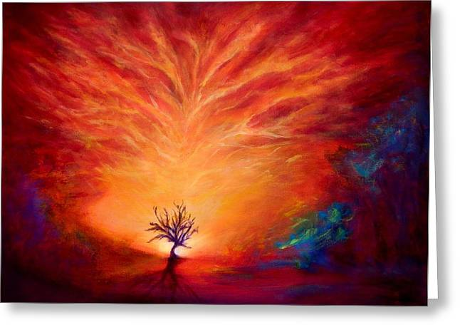 Amazing Sunset Mixed Media Greeting Cards - Lonely Tree and Crazy sky Greeting Card by Lilia D