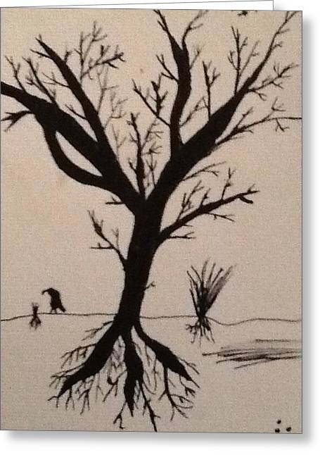 Tree Roots Drawings Greeting Cards - Lonely Tree Greeting Card by Drew Click