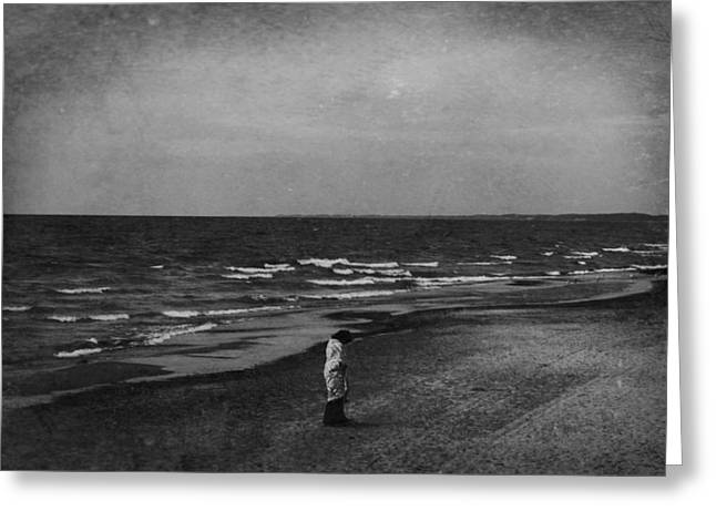 Beach Sand Birds Flying Clouds Sun Sky Trees Grass Building Day Beautiful Wings Flock Greeting Cards - Lonely Woman at Lake Michigan Beach Greeting Card by Paul Szakacs